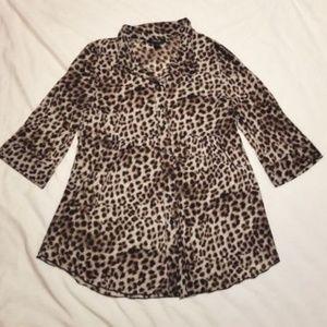 Style & Co Petite Leopard Button Up Dress Size L